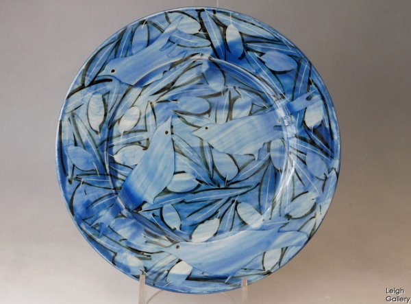 Sophie Maccarthy - Plate - Blue birds & Blue olives (smc3c)